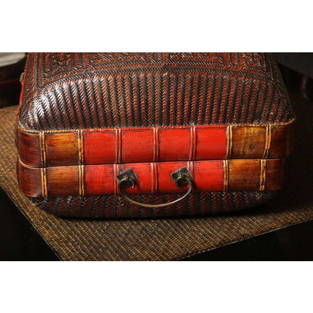 Red Turn of the Century Chinese Woven Rattan and Bamboo Pillow Basket From Shanghai For Sale - Image 8 of 11