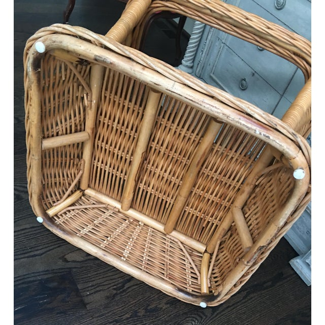 1970s 1970s Boho Crespi Style Woven Rattan Wicker Glass Top Bamboo Table For Sale - Image 5 of 7