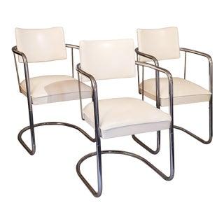 Hollywood Regency Mid-Century White Chrome & White Vinyl Chairs - Set of 3 For Sale