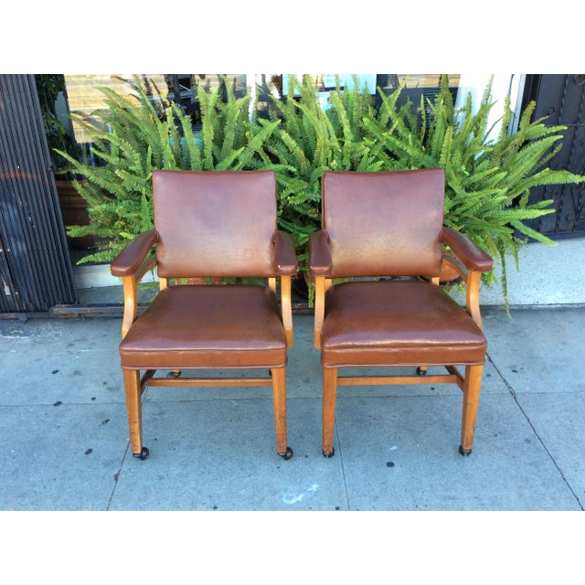Vintage Faux Leather Side Chairs - a Pair For Sale - Image 11 of 11