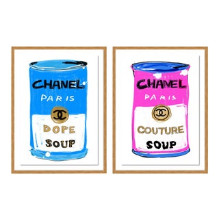 Chanel Soup Diptych by Annie Naranian in Gold Frame, Small Art Print For Sale