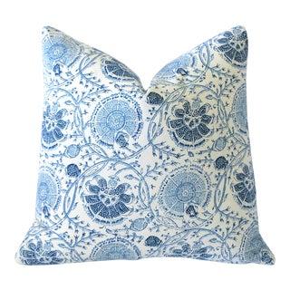 Blue Block Print Pillow Cover 16x16