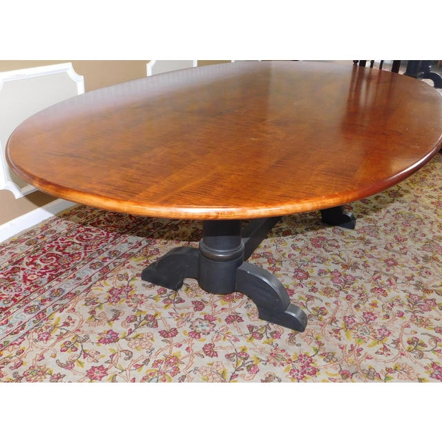Tiger Maple Oval Country Dining Table - Image 8 of 10
