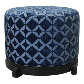 Vintage Upholstered Round Ottoman