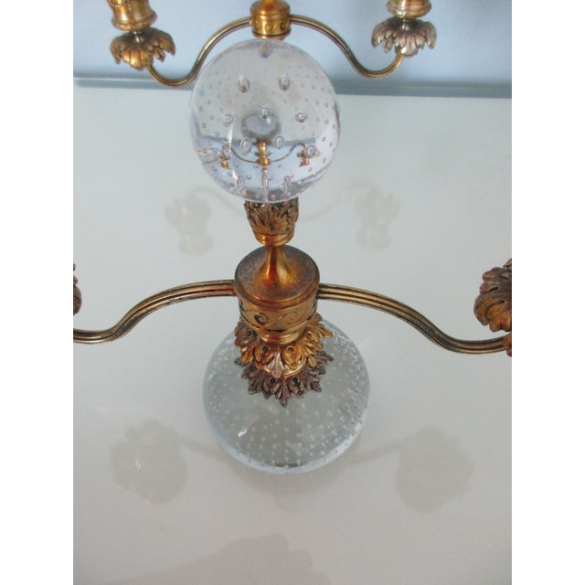 Pairpoint Gilt Metal and Bubble Glass Candelabras - A Pair For Sale - Image 6 of 13