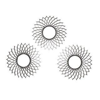 Sunburst Set of Three French Iron Sun Mirrors For Sale