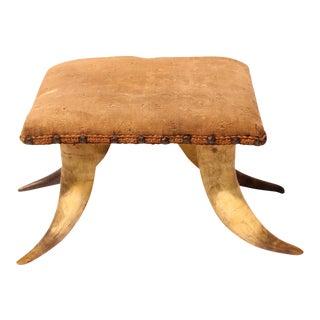 Antique Horn & Needlework Footstool