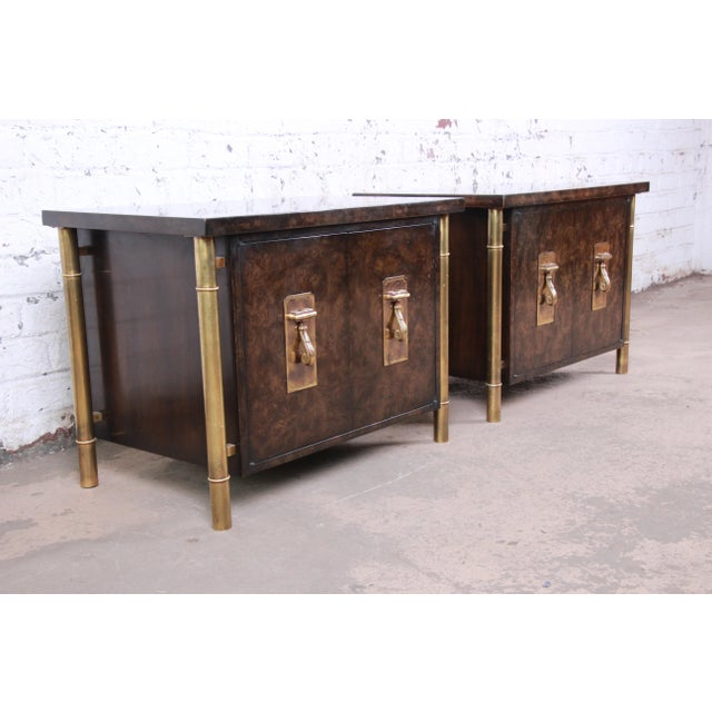 Mastercraft Bernhard Rohne for Mastercraft Hollywood Regency Faux Bamboo Brass and Burl Bedside Chests - a Pair For Sale - Image 4 of 12