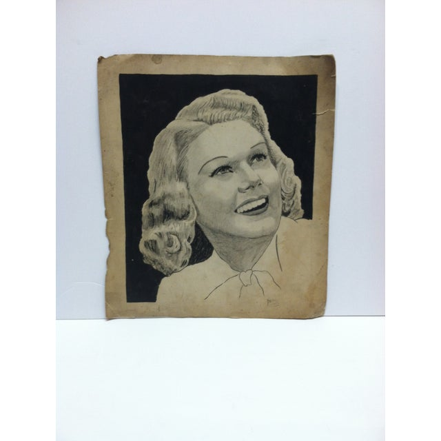 """Vintage Original Drawing on Paper, """"Pretty Smile"""" by Clarance Young For Sale In Pittsburgh - Image 6 of 6"""