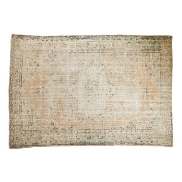 "Vintage Distressed Oushak Carpet - 7'2"" X 10'1"" For Sale"