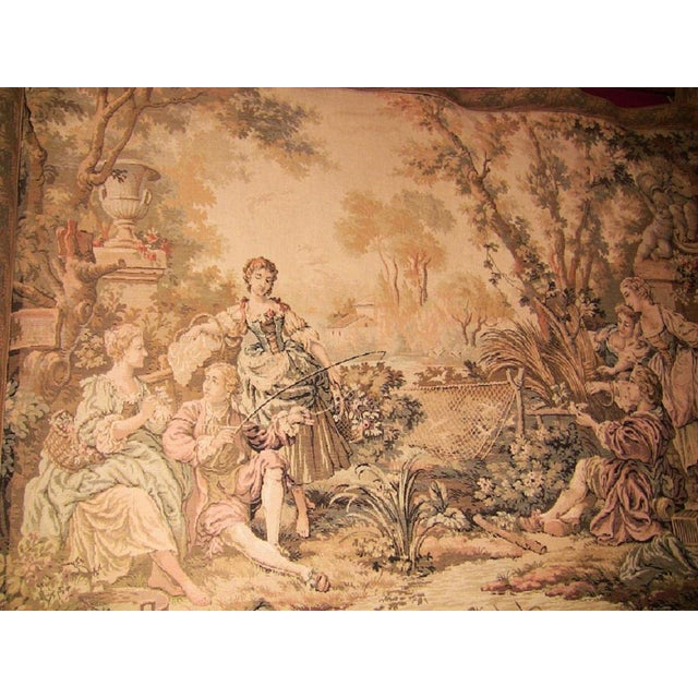 Country 19c Flemish Wall Tapestry of Country Scene For Sale - Image 3 of 7