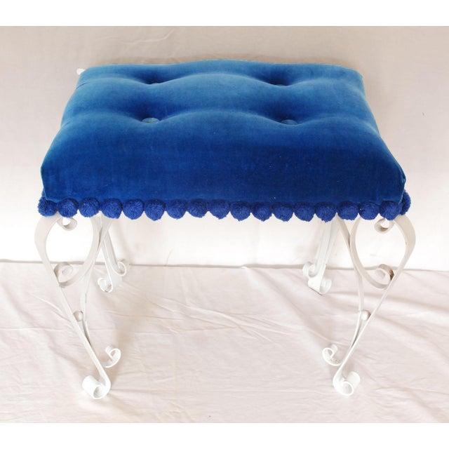 Mid-Century Blue Velvet & Wrought Iron Vanity Stool - Image 2 of 4