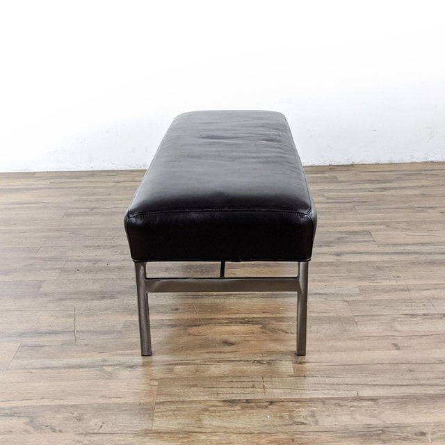 Room & Board Room & Board Leather and Steel Bench in Urbano Brown For Sale - Image 4 of 10