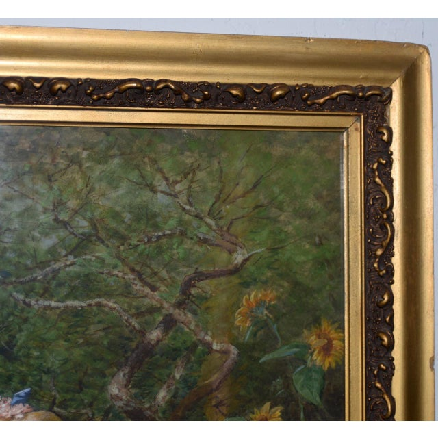Early 20th C. Portrait of Young Woman at Gardens Gate Watercolor Painting For Sale - Image 4 of 9
