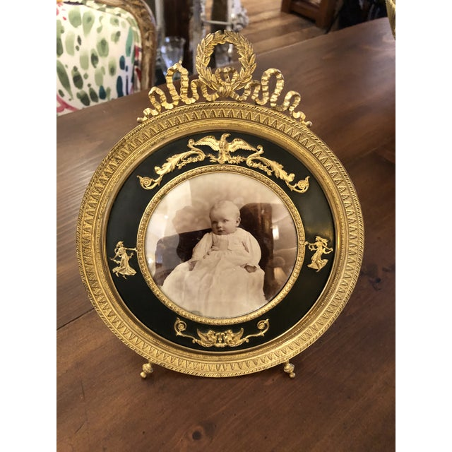 Metal French Empire Antique Patinated Bronze Round Picture Frame For Sale - Image 7 of 10