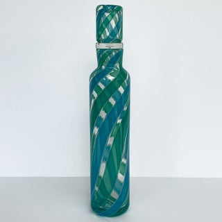 Fratelli Toso Murano Blue Green Stripe Italian Glass Decanter Preview