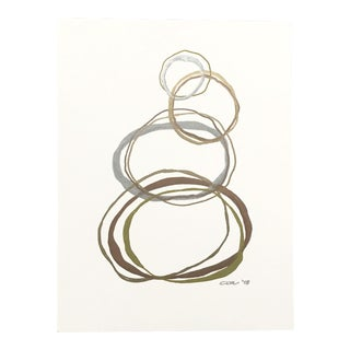 "Original Painting in Metallic Gold, Copper, and Silver ""Rings"""