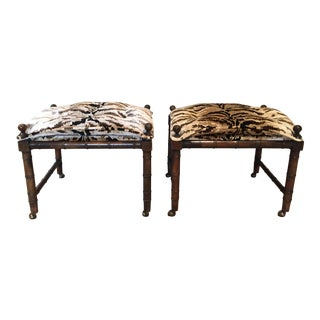 1970's Asian Modern Faux Bamboo Upholstered Ottomans - a Pair