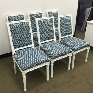 White French Style Dining Chairs in Batik Fabric - Set of 6 Preview