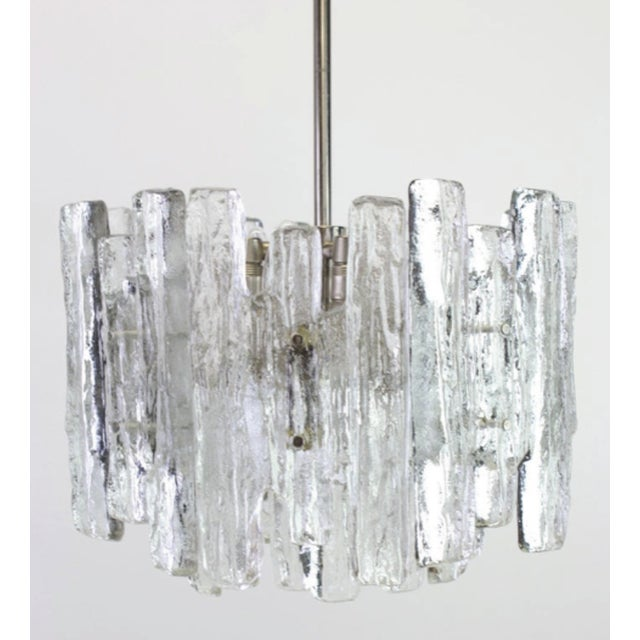 Metal 1960s Large Murano Ice Glass Chandelier by Kalmar, Austria, 1960s For Sale - Image 7 of 9