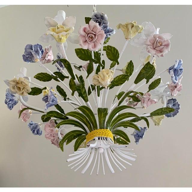 Mid-Century Modern Vintage Ca 1950s Italian Tole 6 Arms Chandelier & Porcelain Rosebuds Flowers For Sale - Image 3 of 13
