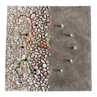 Modern Pebble Mosaic Wall Clock For Sale
