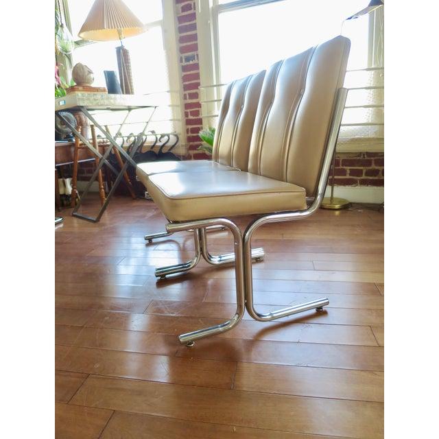 Italian Tufted Tan Chrome Tubular Side Chair For Sale - Image 3 of 5
