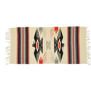 Vintage Mexican Throw Blanket Kilim Rug With Two Grey Hills Style - 01'03 X 02'06 For Sale