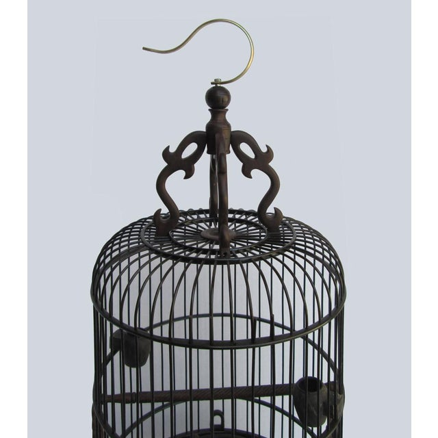 Chinese Handmade Rosewood & Burgh Wood Gold Line Inlay Round Birdcage - Image 5 of 6