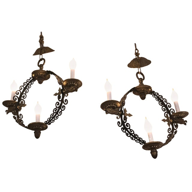 Pair of Extraordinary and Rare Medieval Style Antique Light Fixtures For Sale