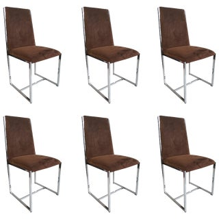 Chrome and Fabric Dining Chairs in the Manner of Milo Baughman 1970s - Set of 6 For Sale