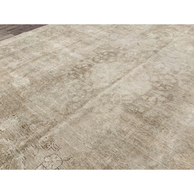 1920s Oversized Antique Distressed Hand Knotted Oushak Rug For Sale - Image 5 of 11