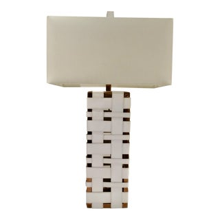 Arteriors Modern White Leather Elis Rose Gold Table Lamp For Sale