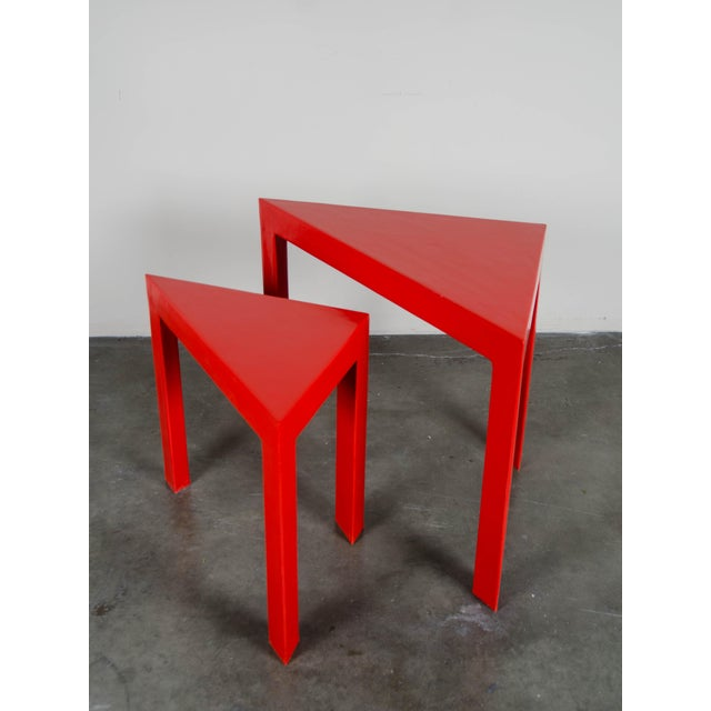 2010s Red Lacquer Corner Nesting Tables - A Pair For Sale - Image 5 of 5