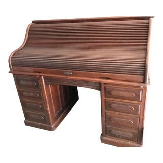 1910s Antique Mahogany Roll Top Desk For Sale