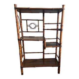 Antique Victorian Scorched Bamboo Etagere For Sale