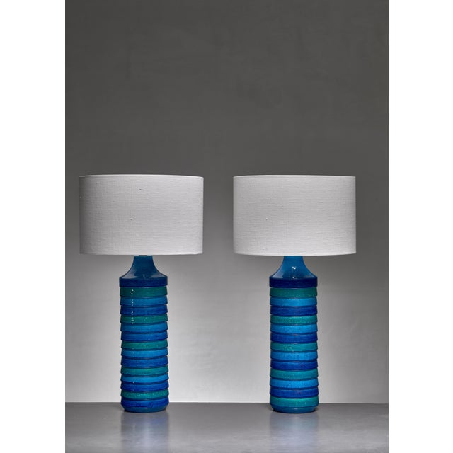 Mid-Century Modern Aldo Londi Pair of Large Ceramic Table Lamps for Bitossi, Italy, 1960s For Sale - Image 3 of 3
