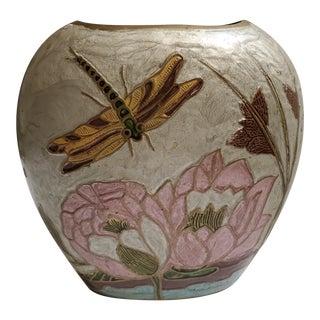 Vintage Solid Brass Enamel Dragonflies, Lotus, & Flowers Vase For Sale
