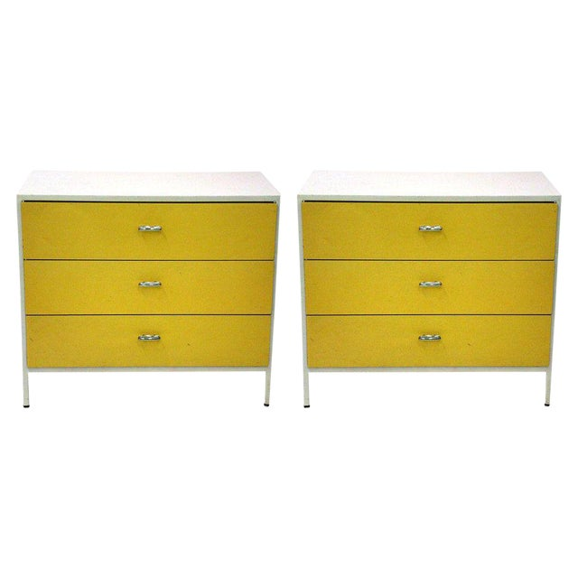 George Nelson 3 Drawer Steel Frame Chests - a Pair For Sale