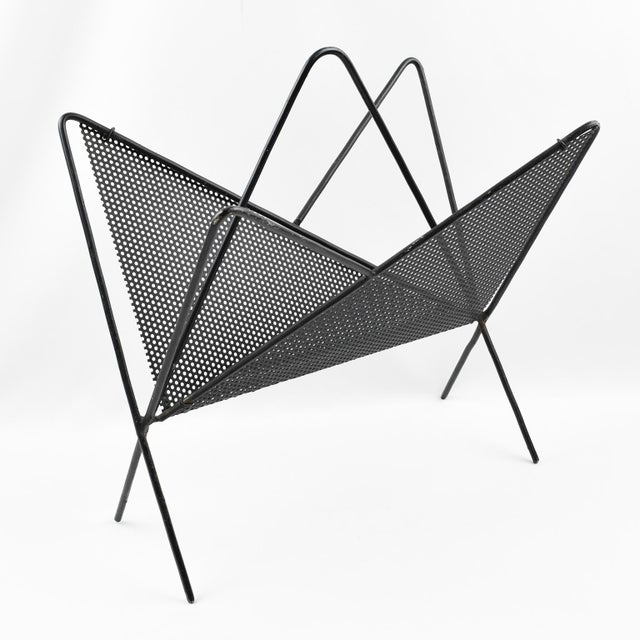 Mathieu Mategot Iconic Butterfly Magazine Holder Rack Black Perforated Metal For Sale In Atlanta - Image 6 of 11