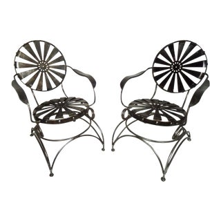 Restored Metal Chairs by Francis Carre - a Pair For Sale