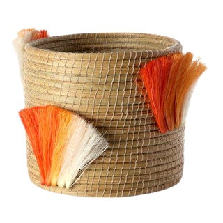 Fanned Out Medium Planter Natural & Tangerine Fans For Sale