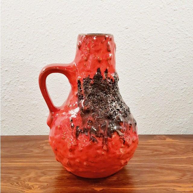 "Mid-Century Modern 1960s Kreutz Keramik Red/Black Fat-Lava Jug Vase 201 (9.3"") For Sale - Image 3 of 12"