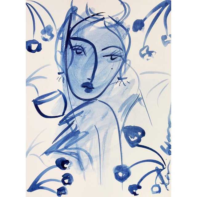 Abstract Flowers and Wine in Indigo Rochelle by Leslie Weaver For Sale - Image 3 of 3