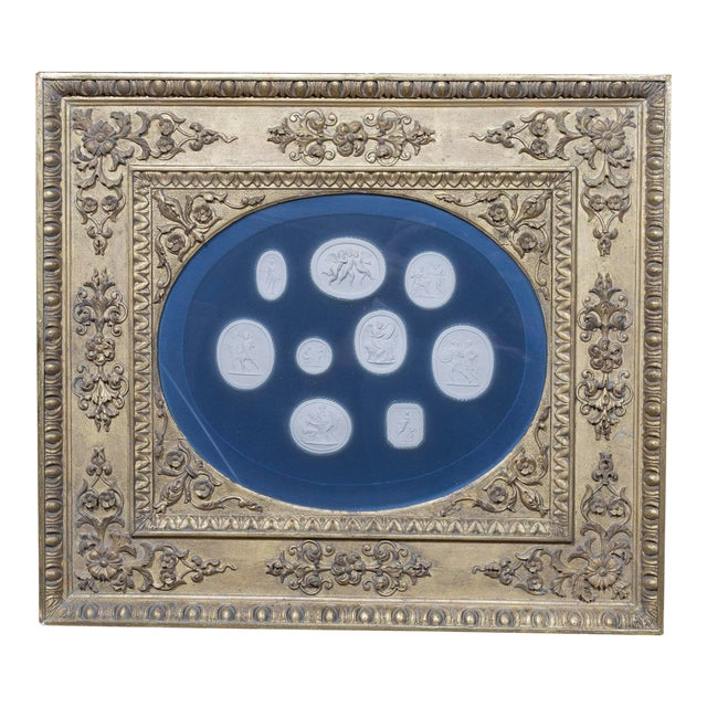 Mid 19th Century Vintage Framed Neoclassical Plaster Cameo Medallions Collage For Sale