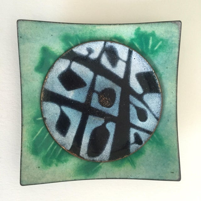 Green Mid-Century Copper & Enamel Plates - A Pair For Sale - Image 8 of 10