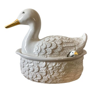 Vintage Italian Pottery Duck Tureen For Sale