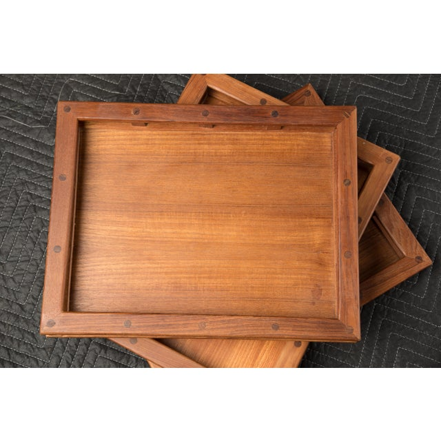 1970s Mid-Century Modern Jens Quistgaard Dansk Teak Tray Gallery Sides - a Set of Three For Sale - Image 5 of 10