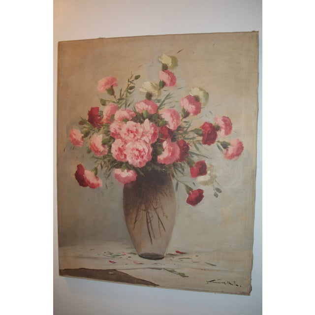 Vintage Large Carnations Floral Oil Painting - Image 7 of 8