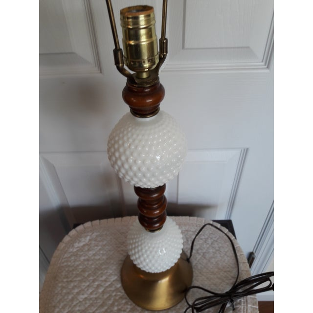 Mid Century Hobnail Milk Glass Table Lamp Brushed Gold Base For Sale - Image 4 of 6